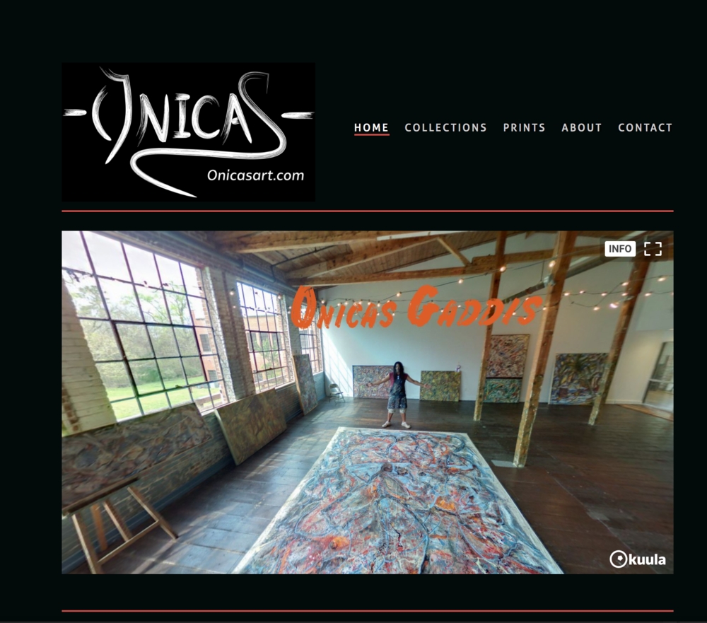 Onicas gaddis art - Built on Squarespace. Features 360° studio shot on home page, connects directly to a third party online art store,and includes Beaumonde Art Management system to keep paintings organized and updated.