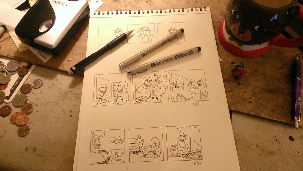 Henry at home: a cartoonist's workplace