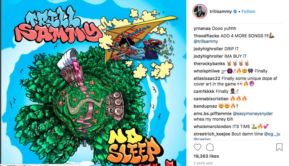 Trill Sammy's interactive album cover on Instagram.