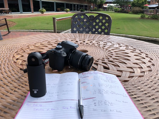 DSLR? Check. 360 camera? Check! Loosely organized mess of notes for the festival? Check. A little too much coffee beforehand? Also check.