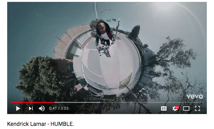 Kendrick Lamar using 360° in his music video for HUMBLE!