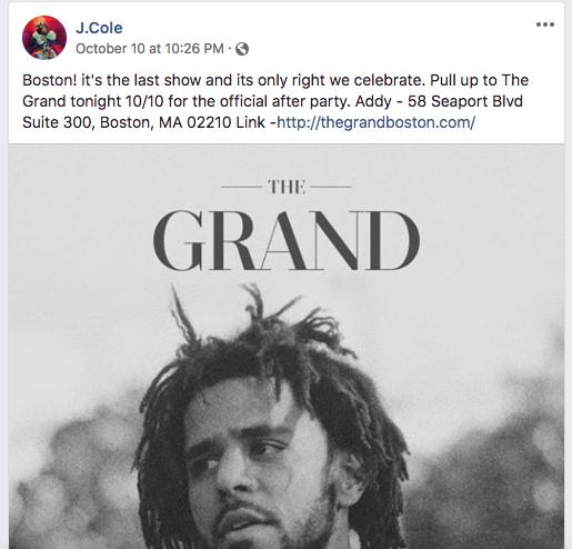 A J. Cole concert announcement on Facebook.