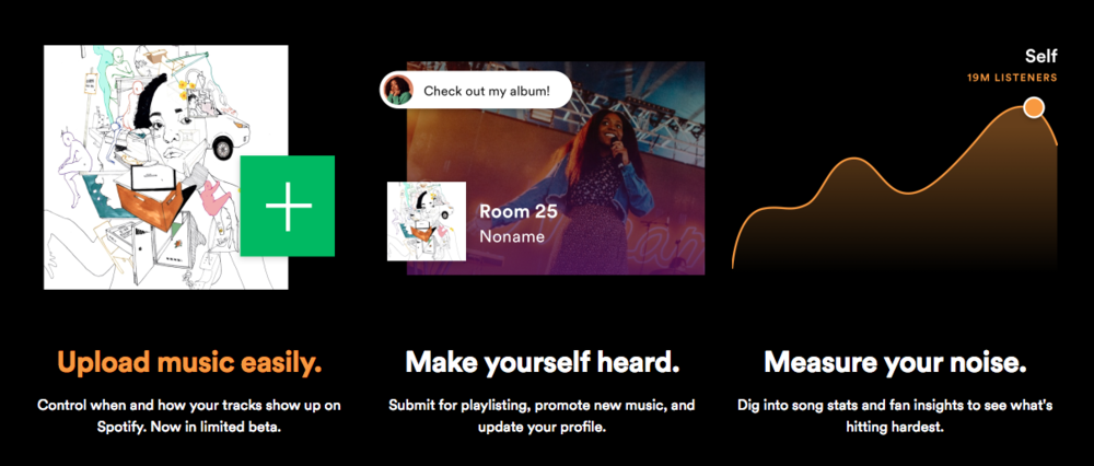 Upload music to Spotify to make yourself heard.