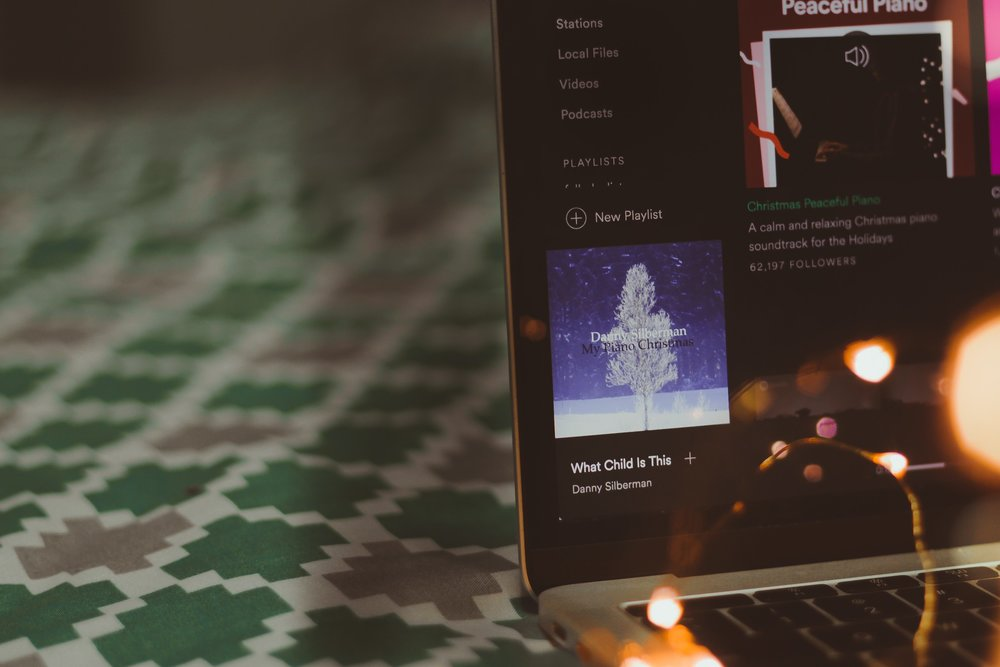Holiday music playing on Spotify on someone's desktop.