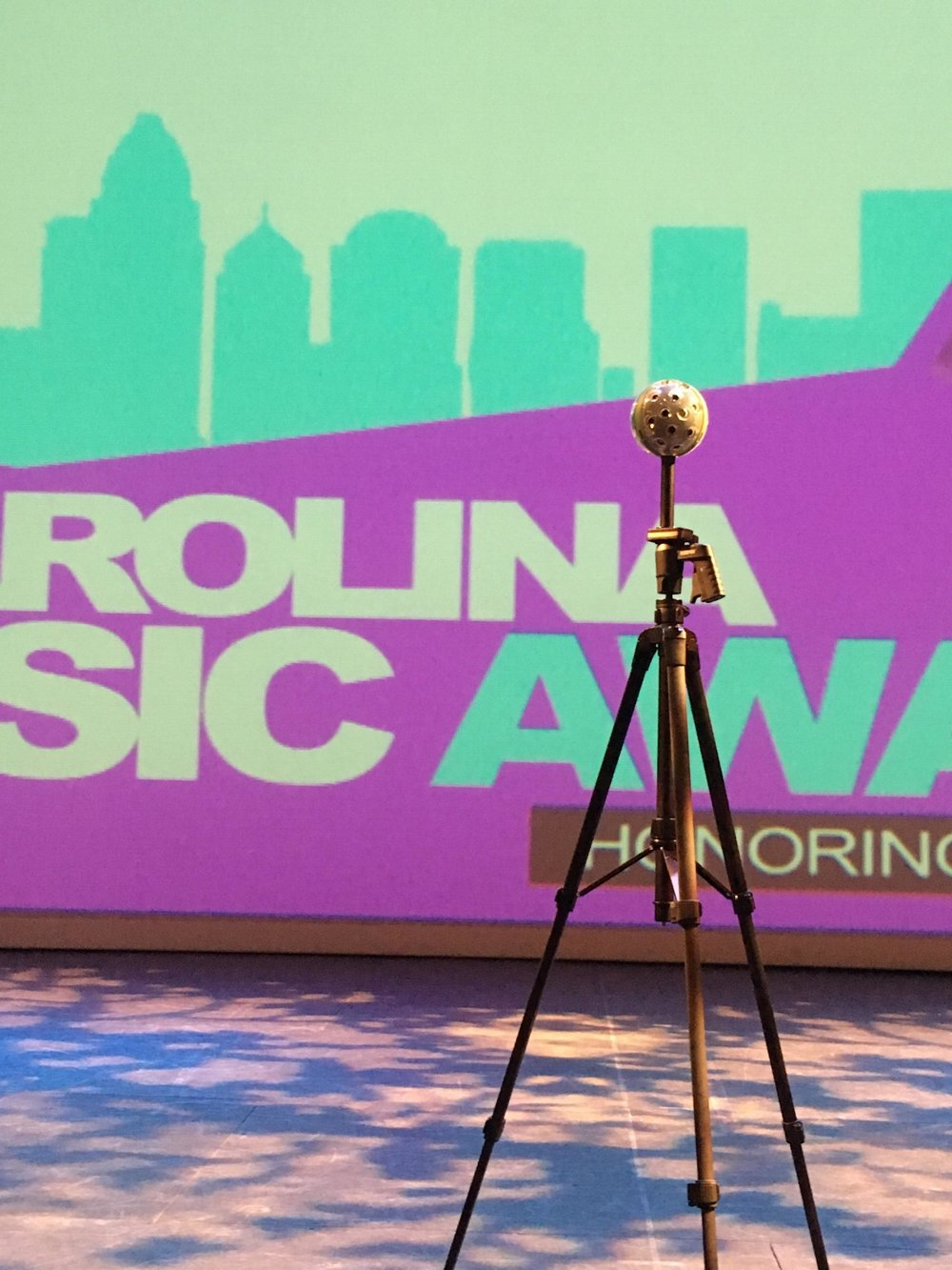Our Panono 360° camera on stage at the Carolina Music Awards
