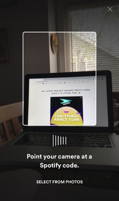 Screenshot view of using my camera within Spotify's mobile app to scan Shep's scan code within his 360.