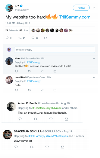 People's Twitter replies on Trill Sammy's immersive album cover release.