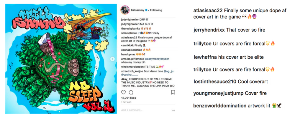 Trill Sammy's No Sleep interactive album cover on Instagram, showing fan reactions and comments