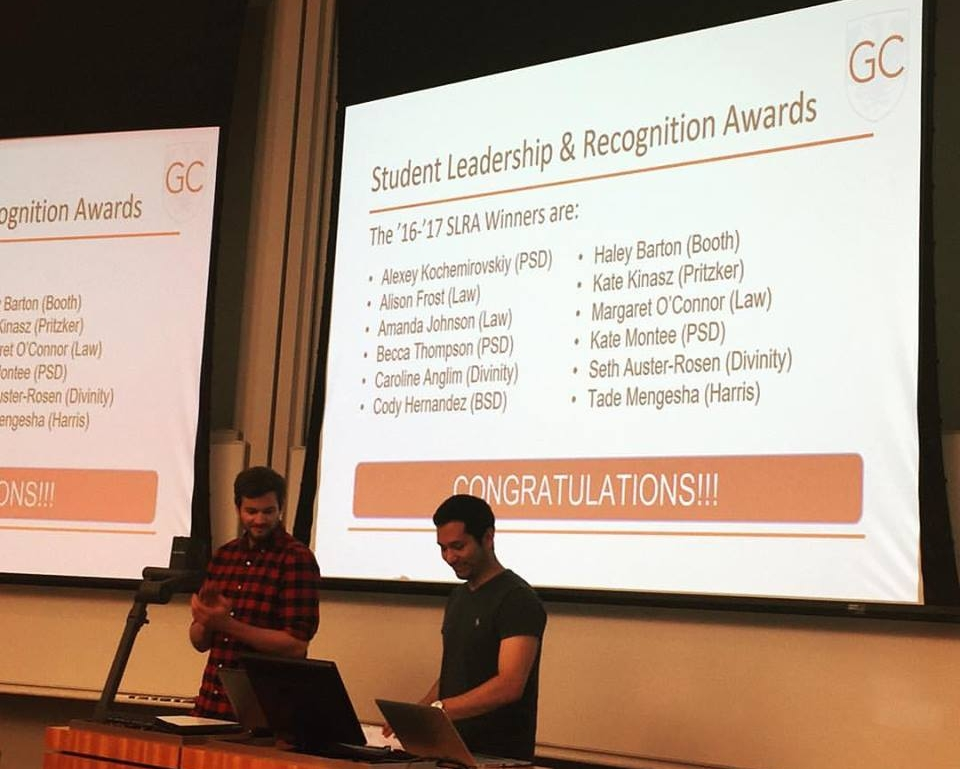 Jake and Carlos reveal the 2016-17 Graduate SLRA winners at our May Graduate Council Meeting