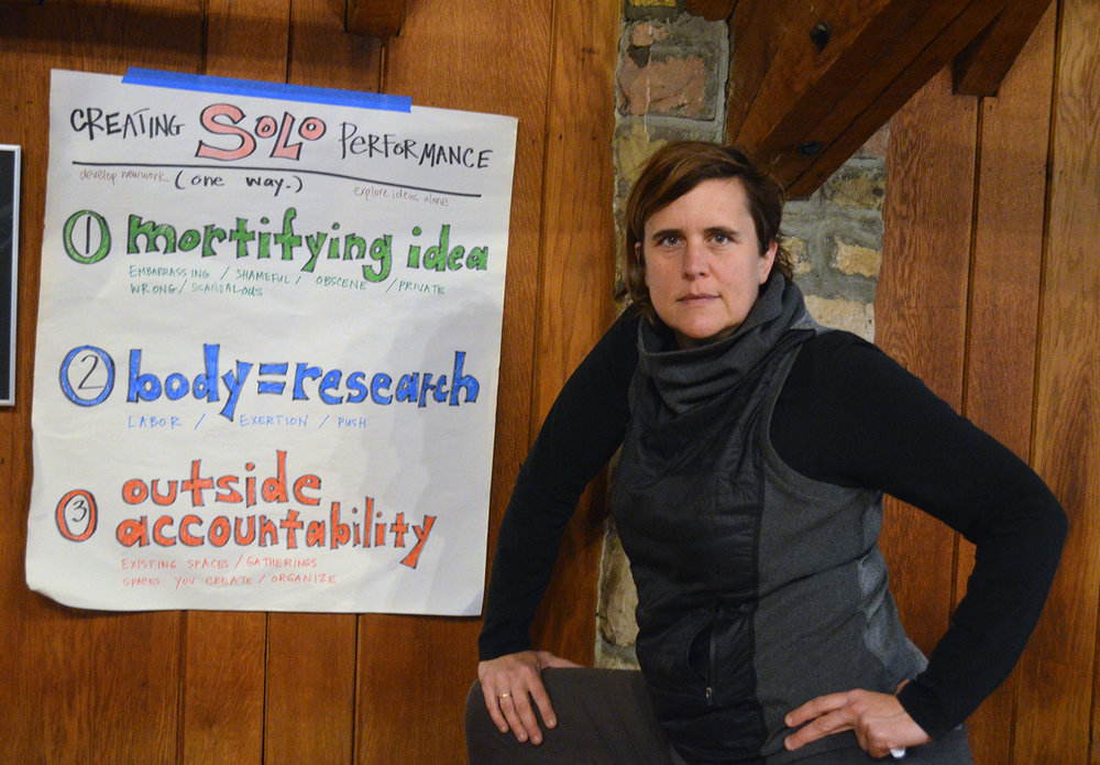 """""""Creating Solo Performance"""" Workshop at  Hurricane Gap Theater Institute , Pine Mountain, KY. Photo:  Mark Kidd ."""