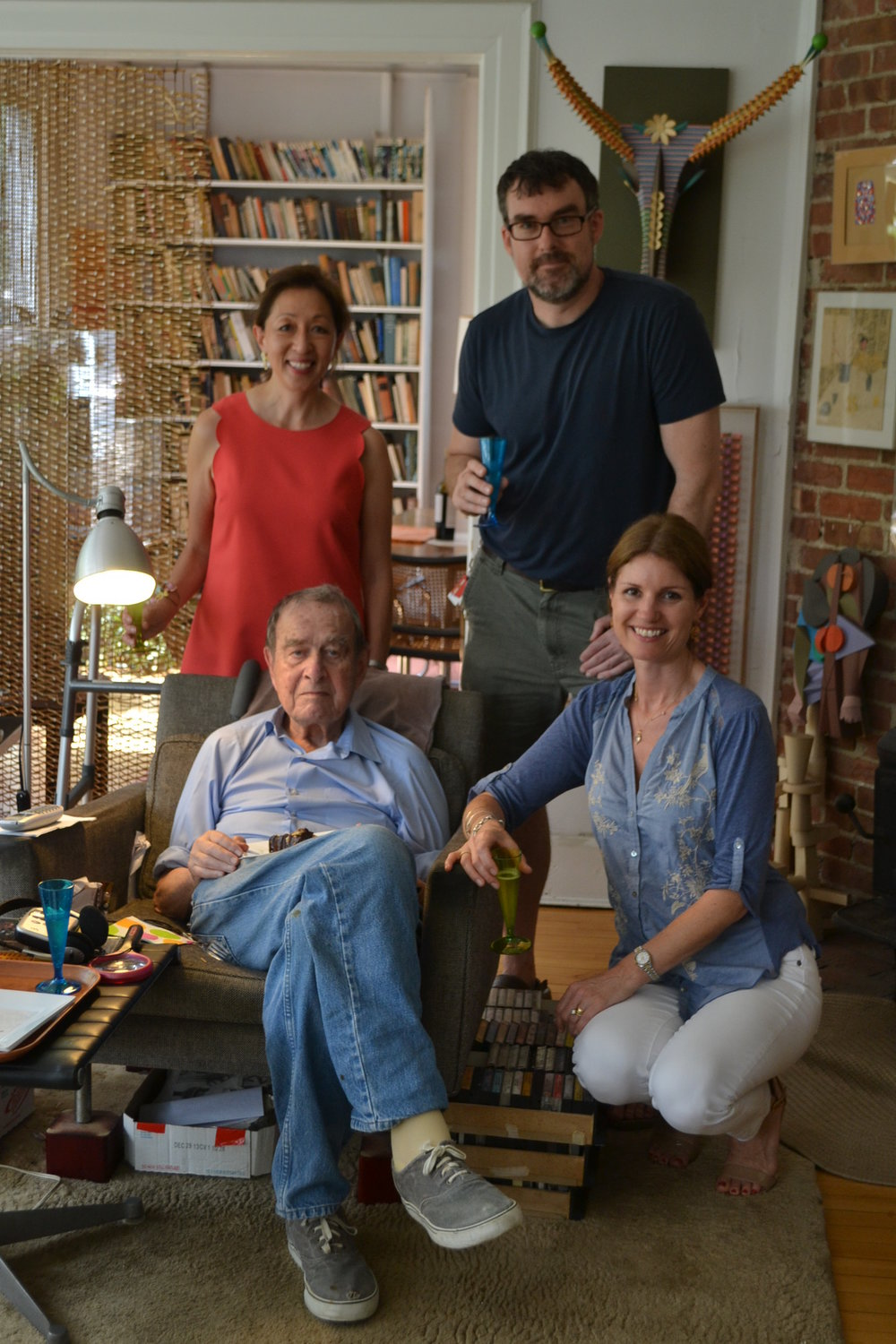 Irving Harper on his 98th Birthday with Rye Arts Center. Helen Gates.Jeff Taylor and Katharine Dufault(kneeling).jpg