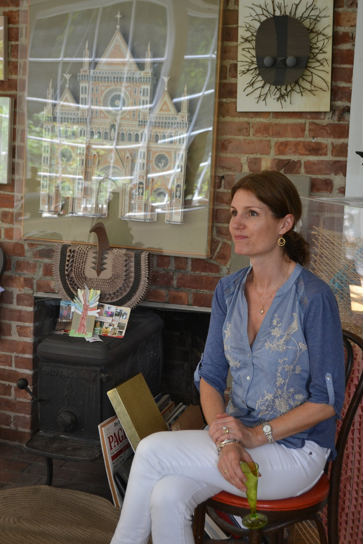 Katharine Dufault with Harper sculptures.JPG