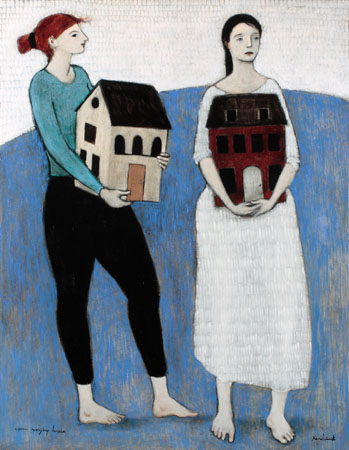 women carrying houses