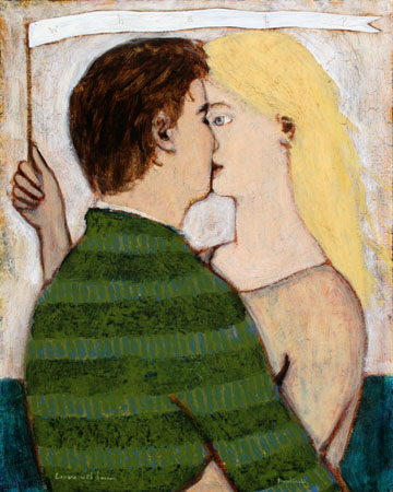 Lovers with banner