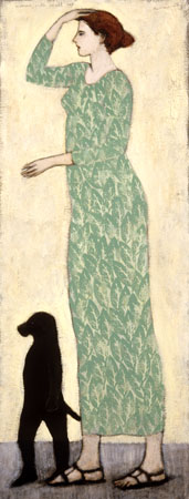 woman with a small dog