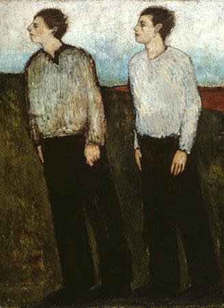 Two men walking, walking