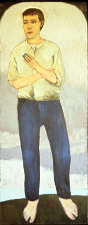 Man with a small blue object