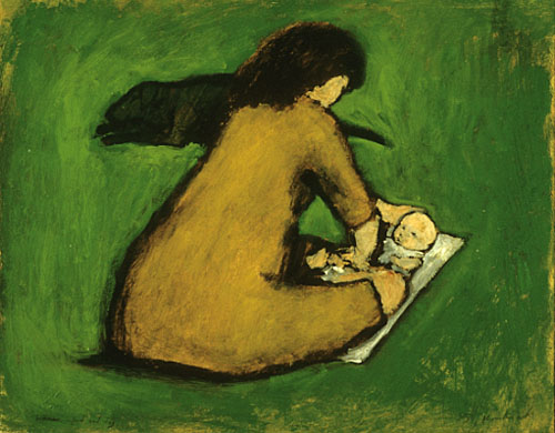 Woman with infant and dog