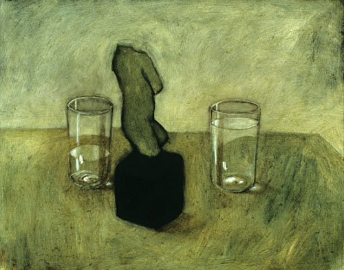 Torso and water glasses