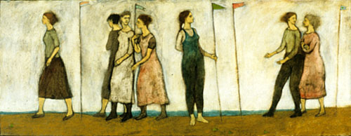 Seven women with banners