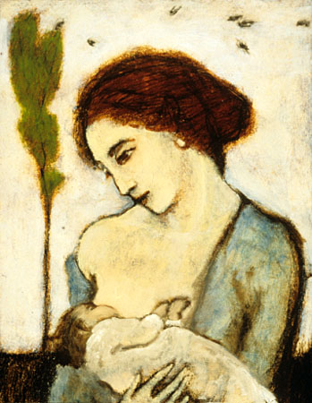 Mother and child with sparrows