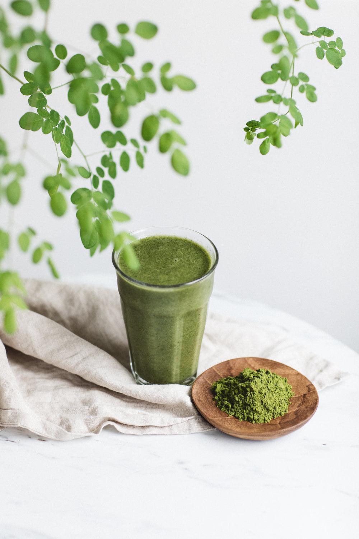 moringa powder green juice image clean minimal