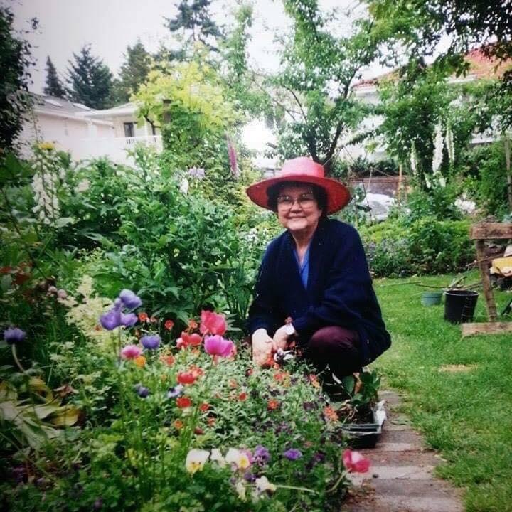 Mom & her garden