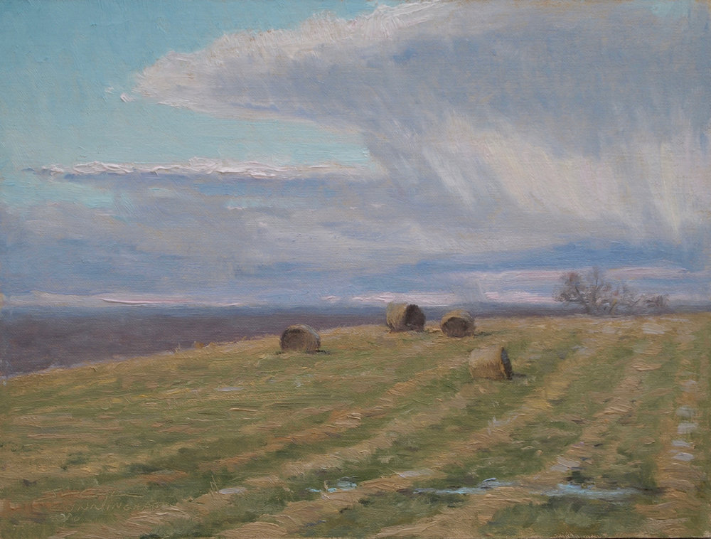 Round Bales after a Rain 9%22x12%22, Oil on Mounted Linen.jpg