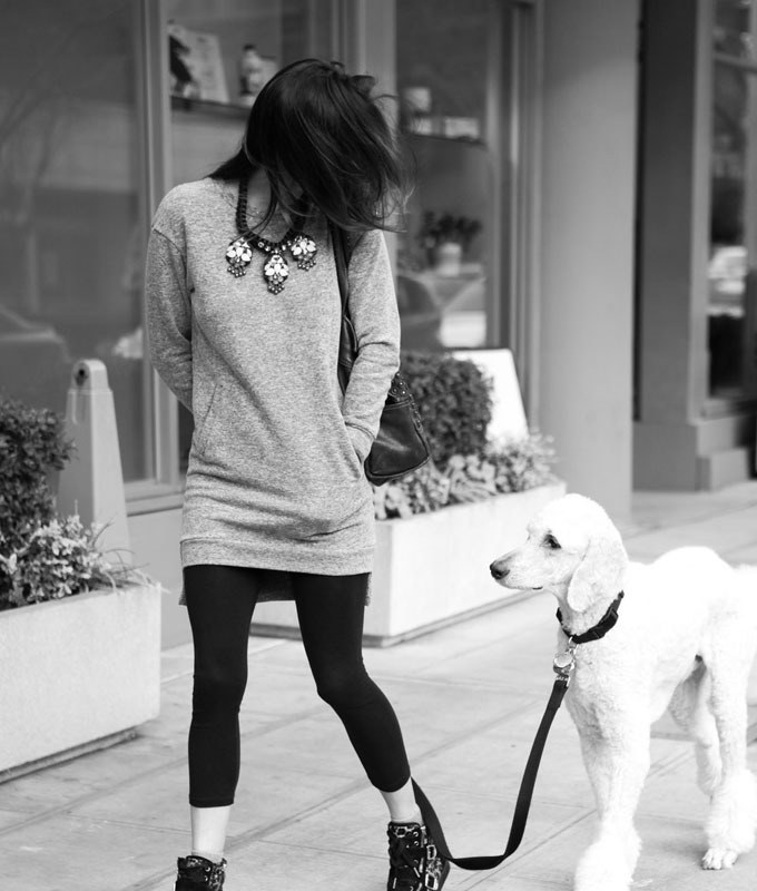 sweatshirt-dress-with-statement-necklance-