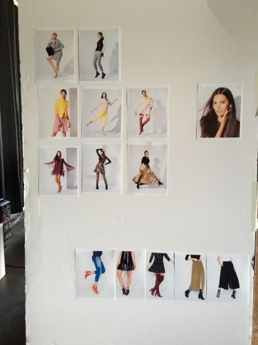 As a outfit was shot, and a picture was selected it would get printed out and added to the wall