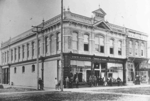 The S.E. Young & Son Dry Goods Store at First and Broadalbin, c. 1895.