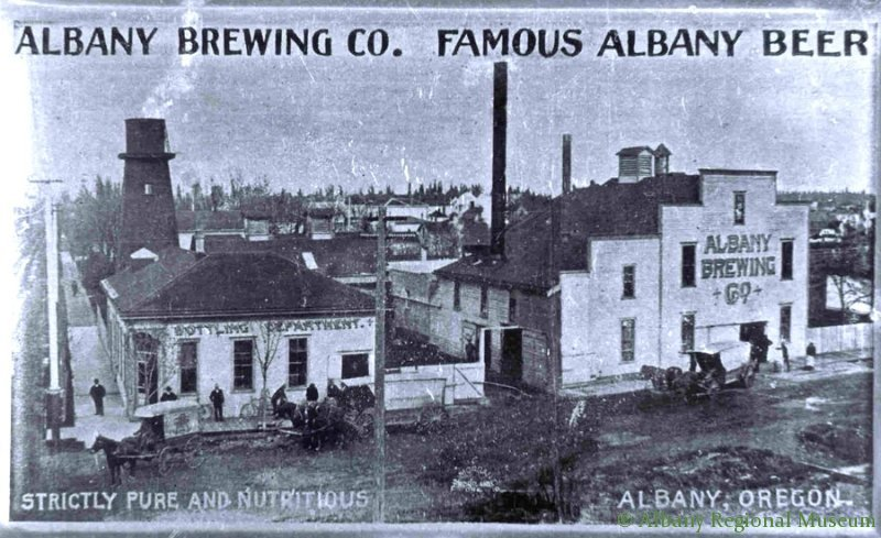 "This ashtray advertised Albany Brewing Co, located on the NE corner of Ninth and Lyon. It reads ""Albany Brewing Co. Famous Albany Beer; Strictly pure and nutritious; Albany, Oregon."" The location is now covered by the overpass leading down to Lyon. c. 1900"