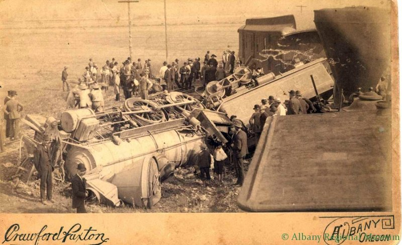 Train wreck at Albany watershed, 1902. Bill Pirie, train expert, said that wreck was deliberately caused by crew because they were angry with bosses.