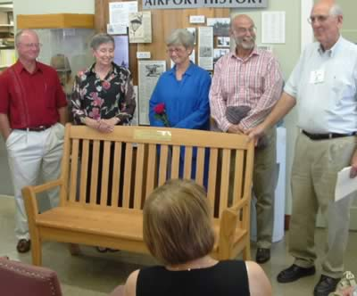The family of Betty Clough presented a bench during a memorial ceremony, August 2005.