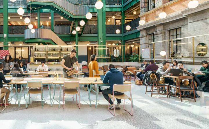 WeWork Weihai Lu in Shanghai, China  WeWork has garnered a name for itself across the map, but its Shanghai, China office is one that has us doing a double-take.  WeWork Weihai Lu  can be found in a once historical London style mansion transformed into a modern workspace. Micro-roasted coffee, printing, private phone booths, high speed internet, and weekly networking events (including happy hours!) are just some of the perks.