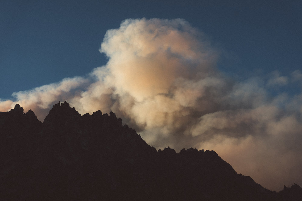 Fire smoke behind The Temple, WA, 2017