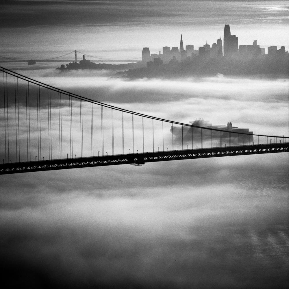 Boat in the fog, Golden Gate Bridge, November 2017