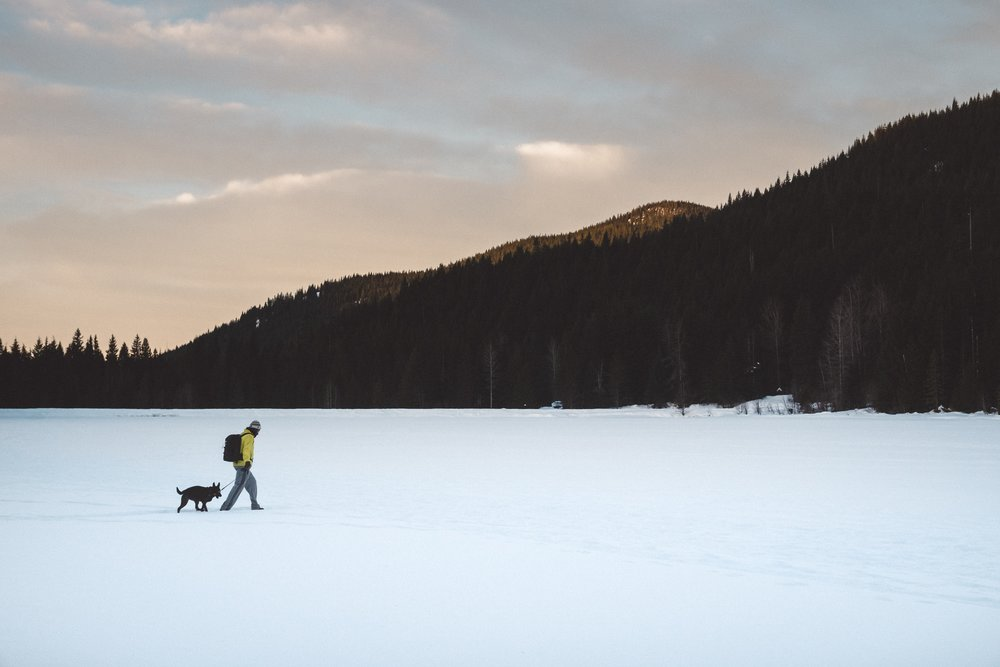 Luna and I walking on a frozen Trillium Lake, in Oregon.