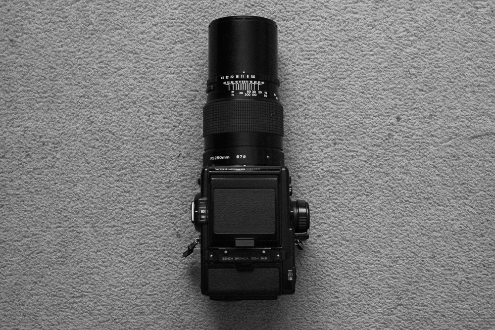 A heavy, long, slow prime lens: Zenzanon PS 250mm f/5.6 for the Bronica.