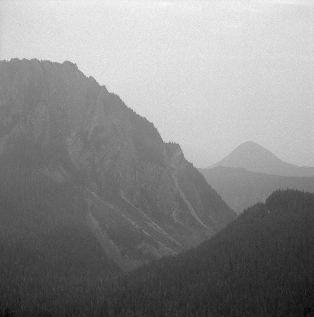 Shot at EI1600, Ilford HP5+, developed with Kodak D-76. Mt Rainier National Park, Washington, 2017.