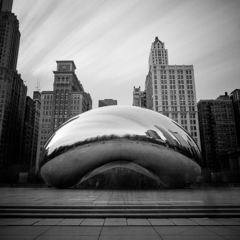 """A 10-minute long exposure of the bean makes all the people """"disappear""""."""