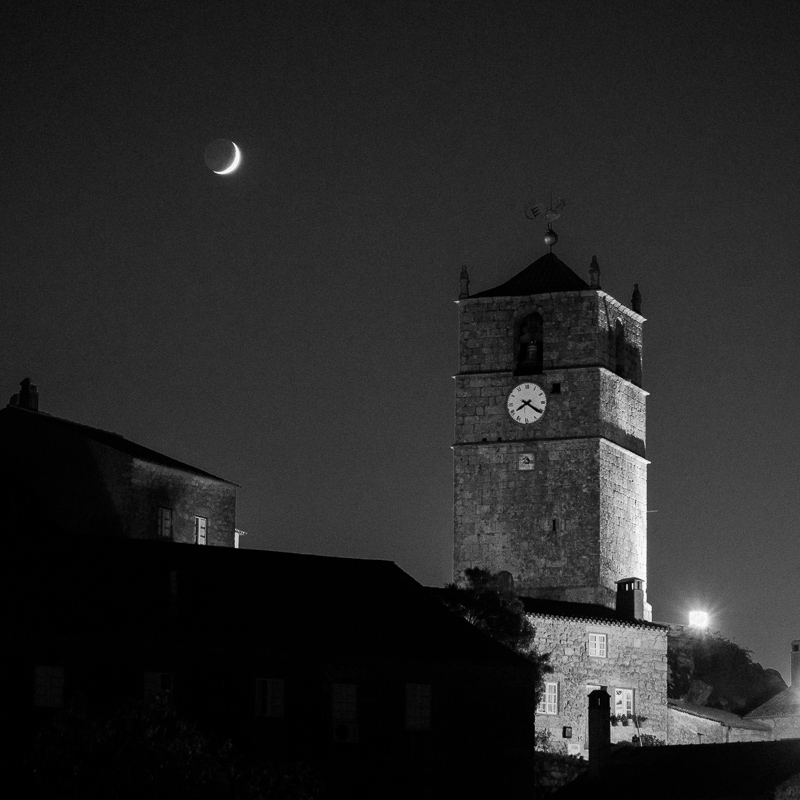 Moon and clock tower, Monsanto, September 2018