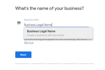Business legal name form screenshot