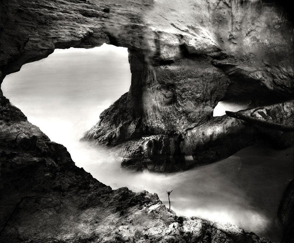 Arch at Columbus Bay, Trinidad. Warmtone print on Ilford fibre paper. 8x10 large format camera, Kodak Tri-X Pan film.