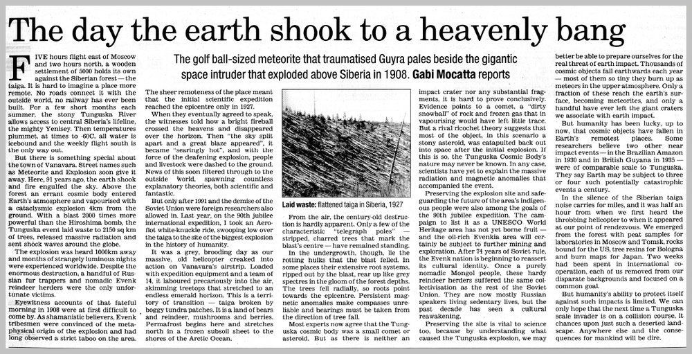 The Australian — The day the earth shook to a heavenly bang