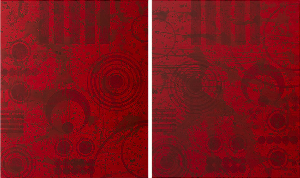 J. Steven Manolis, REDWORLD GLAZE 2017; Diptych, 2017, Acrylic on canvas, 72 x 120 inches. 2 panels, 72 x 60 inches each. Gifted to the Coral Springs Art Museum, Coral Springs, FL. 2017.01 & 2017.2