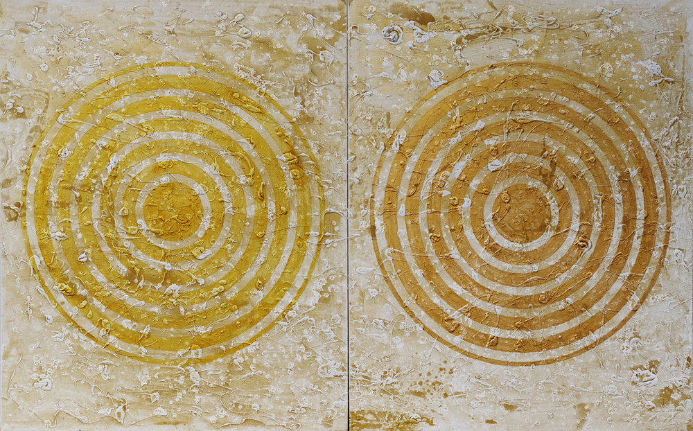 J. Steven Manolis , METALLICA Concentric (Bright + Renaissance) , 2018, Acrylic on canvas, 60 x 96 inches 152.4 x 243.84 cm). Two panels, 60 x 48 inches (152.4 x 121.92 cm) each.