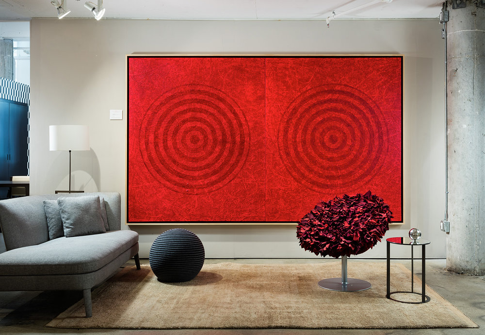 J. Steven Manolis , Redworld Concentric,  2016,   Acrylic on Canvas, 72 x 120 inches (182.88 x 304.8 cm). Two panels, 72 x 60 inches (182.88 x 152.4 cm) each. MAXALTO, Design District Miami, FL. Sargent Architectural Photography.