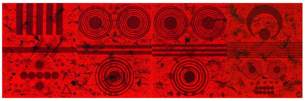 J. Steven Manolis,   REDWORLD, 2018,   Acrylic on canvas, 90 x 276 inches (228.6 x 701.04 cm).