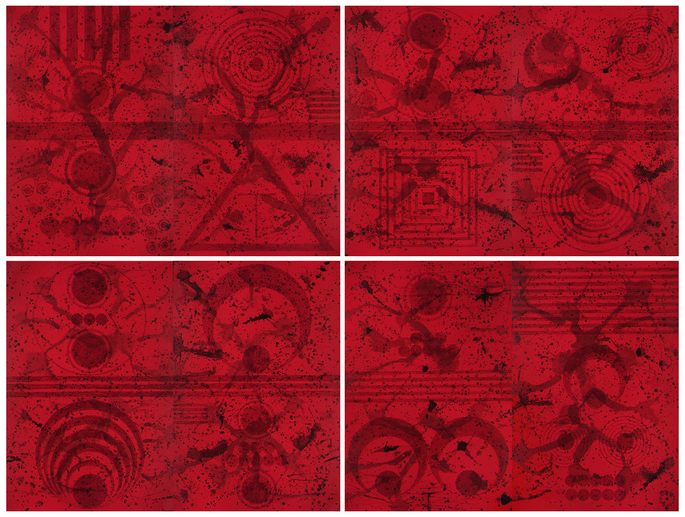 J. Steven Manolis,  Redworld Self Portrait Quadriptych,  2017, Acrylic on canvas, Four diptychs, 144 x 192 inches (365.76 x 487.68 cm). Each diptych: 72 x 96 inches (182.88 x 243.84 cm), Two panels, 72 x 48 inches (182.88 x 121.92 cm) each. Framed: 150 x 198 inches (381 x 502.92 cm).